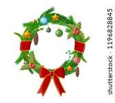 christmas wreath. fir evergreen ... | Shutterstock .eps vector #1196828845