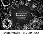 mediterranean cuisine top view... | Shutterstock .eps vector #1196853055