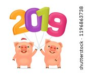 little funny pigs with... | Shutterstock .eps vector #1196863738
