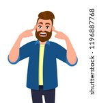 man covering ears with fingers... | Shutterstock .eps vector #1196887768
