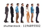 side view of seven people with... | Shutterstock . vector #1196895502