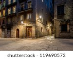 Empty Street Of Barri Gotic At...
