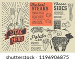 steak menu template for... | Shutterstock .eps vector #1196906875