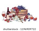 watercolor still life of red... | Shutterstock . vector #1196909722