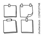 set hand drawn doodle notepaper ...   Shutterstock .eps vector #1196919748