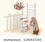 rocking chair with plaid ... | Shutterstock .eps vector #1196927335