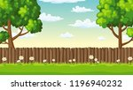 summer landscape with fence ... | Shutterstock .eps vector #1196940232