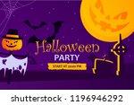 halloween party banner.... | Shutterstock .eps vector #1196946292