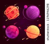 set of fantasy cartoon planets... | Shutterstock .eps vector #1196946298