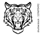 tiger anger. black tattoo.... | Shutterstock .eps vector #119695492