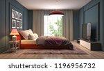 bedroom interior. 3d... | Shutterstock . vector #1196956732
