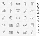 archeology line icon set with... | Shutterstock .eps vector #1196960035
