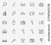 archeology line icon set with... | Shutterstock .eps vector #1196960158