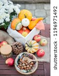 autumn festival decoration with ... | Shutterstock . vector #1196971492
