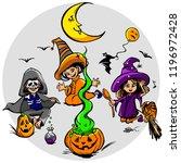 happy halloween night and... | Shutterstock .eps vector #1196972428