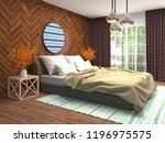 bedroom interior. 3d... | Shutterstock . vector #1196975575