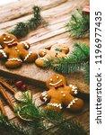 christmas food. gingerbread man ...   Shutterstock . vector #1196977435