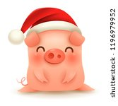 little pig with christmas santa ... | Shutterstock .eps vector #1196979952