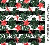 tropical print. jungle seamless ... | Shutterstock .eps vector #1196989828