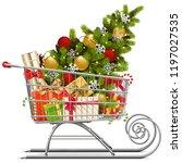 vector supermarket sleigh with... | Shutterstock .eps vector #1197027535