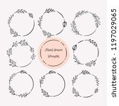 hand drawn wreath set. floral... | Shutterstock .eps vector #1197029065
