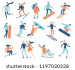 winter sport people. sportsman... | Shutterstock .eps vector #1197030328