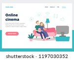 couple watching movie. young... | Shutterstock .eps vector #1197030352