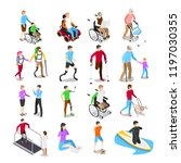 isometric disabled people.... | Shutterstock .eps vector #1197030355
