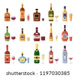 alcohol bottles and glasses.... | Shutterstock .eps vector #1197030385