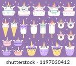 unicorn desserts. unicorns... | Shutterstock .eps vector #1197030412