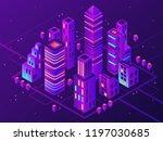 isometric neon town. futuristic ... | Shutterstock .eps vector #1197030685
