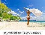 cute woman in white bikini ... | Shutterstock . vector #1197050098