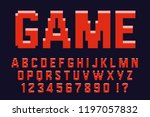 pixel 3d retro red font video... | Shutterstock .eps vector #1197057832