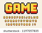 Stock vector pixel d retro font video computer game design bit letters and numbers vector alphabet 1197057835