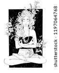 beautiful girl meditates in... | Shutterstock .eps vector #1197064768