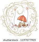 bird couple under umbrella... | Shutterstock .eps vector #1197077905