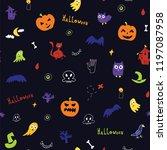 halloween doodle vector... | Shutterstock .eps vector #1197087958