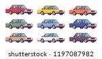 sedan set in bright colors.... | Shutterstock .eps vector #1197087982