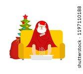 santa sick sitting in armchair...   Shutterstock .eps vector #1197110188