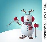 3d render  christmas snowman...   Shutterstock . vector #1197115432