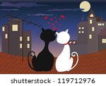 love cats at night | Shutterstock .eps vector #119712976