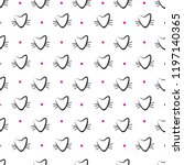 hand drawn cats vector seamless ... | Shutterstock .eps vector #1197140365