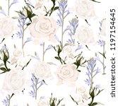 delicate pattern white roses... | Shutterstock .eps vector #1197154645