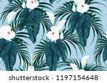 seamless blue calla lilies... | Shutterstock .eps vector #1197154648