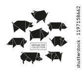 origami pigs icon set. abstract ... | Shutterstock .eps vector #1197158662