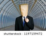 architect with paper bag on the ... | Shutterstock . vector #1197159472