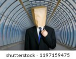 architect with paper bag on the ... | Shutterstock . vector #1197159475