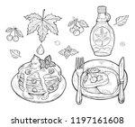 vector illustration of pancakes ... | Shutterstock .eps vector #1197161608