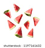 watermelon slices isolated on... | Shutterstock . vector #1197161632