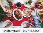 flat lay of friends celebrating ... | Shutterstock . vector #1197166855